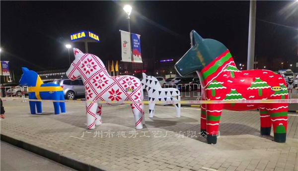 天津宜家大型彩绘马案例展示