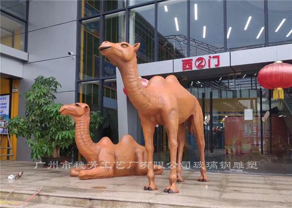 仿真骆驼长颈鹿玻璃钢雕塑案例展示