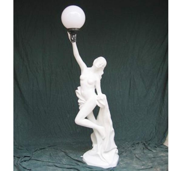 佛山欧式艺术花盆 玻璃钢雕塑 时尚女式捧灯饰雕塑