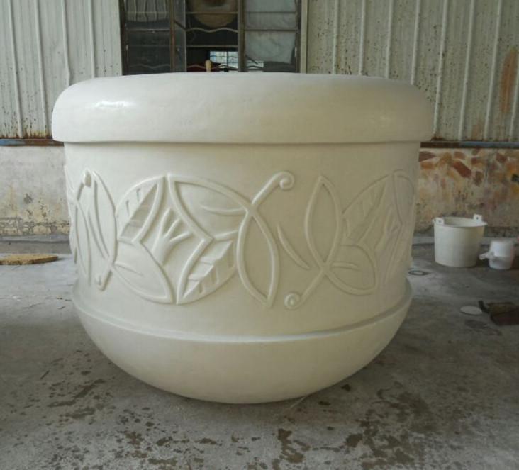 大型白色玻璃钢花盆带花纹花盆种植花盆