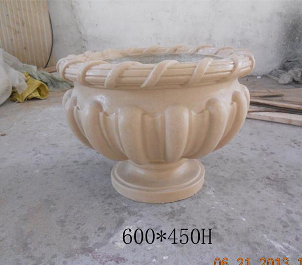 欧式花杯装饰花盆浅黄色砂岩花盆