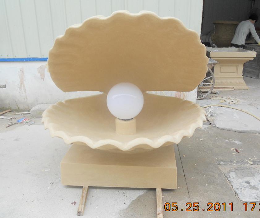 贝壳砂岩喷水雕塑水钵