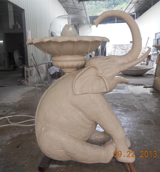 大象水钵砂岩喷泉雕塑