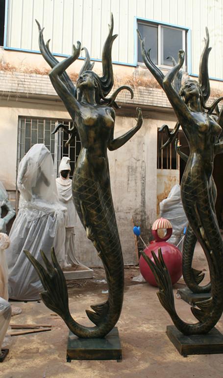 美人鱼玻璃钢喷泉雕塑