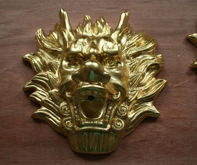 狮子头喷泉挂件玻璃钢雕塑