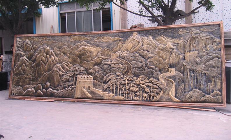 万里长城玻璃钢仿铜雕塑