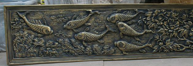 鱼群像玻璃钢浮雕雕塑