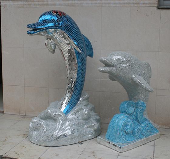 玻璃钢海豚马赛克雕塑