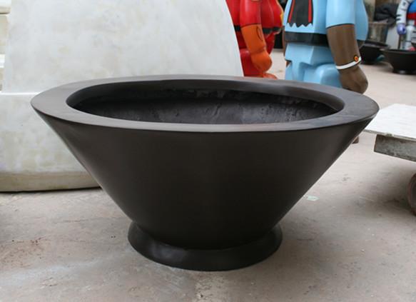 浅黑色大口径玻璃钢花盆