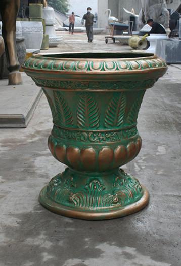 铜绿色玻璃钢花盆