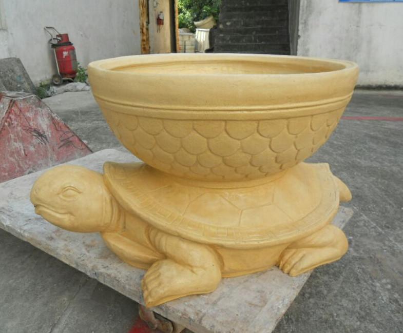 玻璃钢黄色乌龟花盆