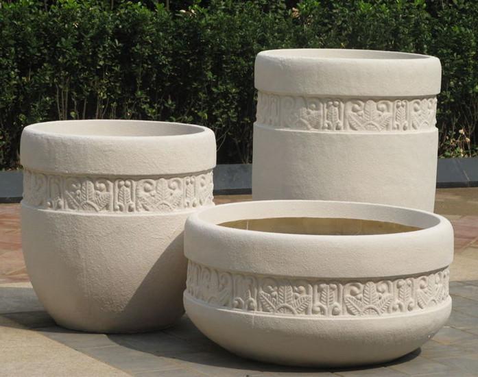 玻璃钢白色石漆仿砂岩花盆组合花盆