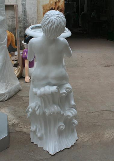 玻璃钢白色小孩花盆