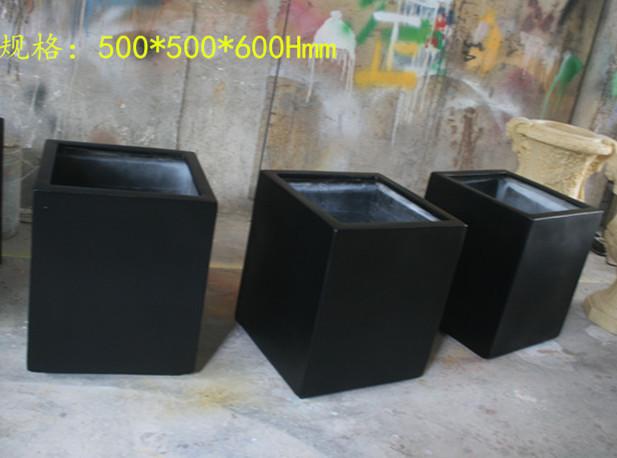 树脂纤维玻璃钢黑色小花槽组合花盆