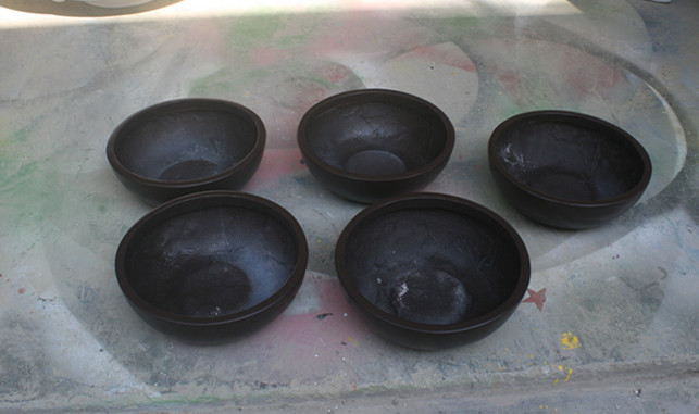 玻璃钢黑色小花钵组合