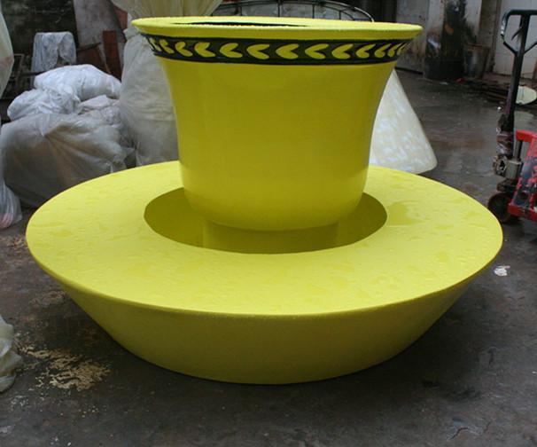 玻璃钢黄色茶杯花盆