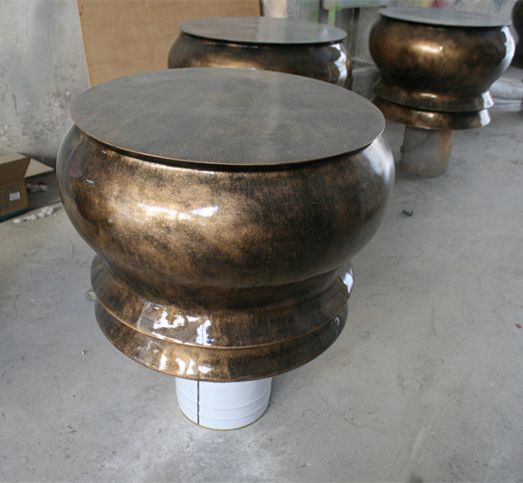 圆形仿铜坐凳玻璃钢座椅