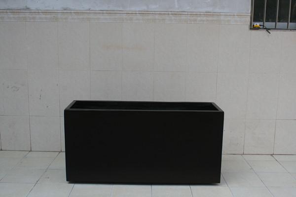 玻璃钢黑色花槽花箱