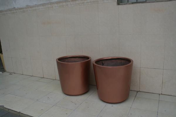 玻璃钢红褐色花盆套盆