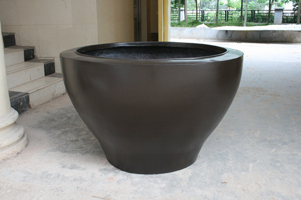 玻璃钢黑色椭圆花盆