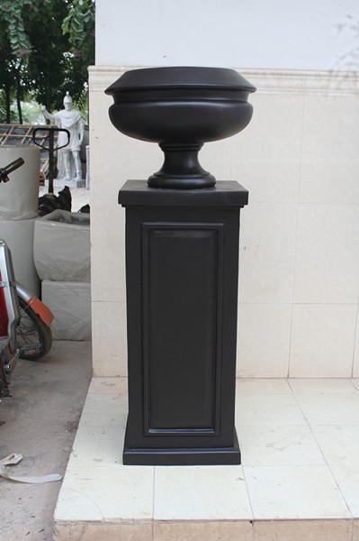 欧式黑色玻璃钢花托盆