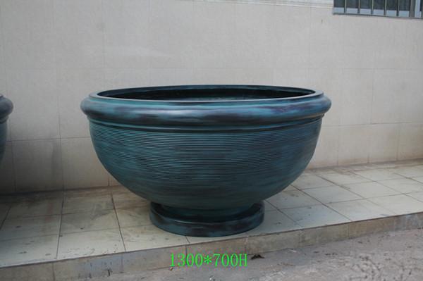 蓝色玻璃钢花盆花钵