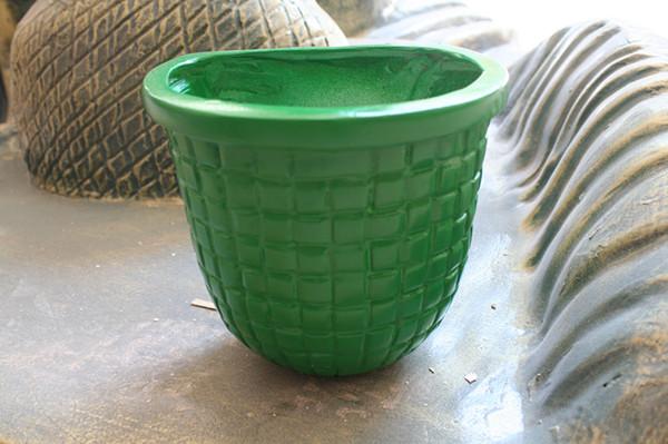 玻璃钢绿色花盆