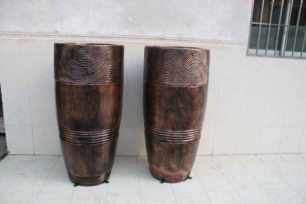 仿铜花钵组合玻璃钢花盆