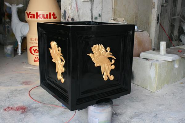 方形金边黑色花槽