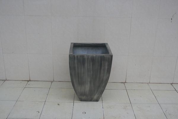 玻璃钢浅灰色市政花盆