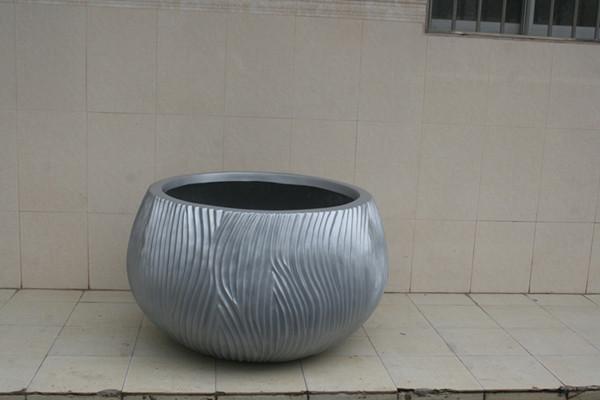 玻璃钢银灰色花盆