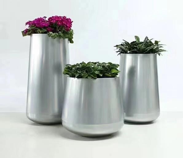 北欧创意金属花盆 室内简约大中型植物种植不锈钢落地金属花器 花盆摆件