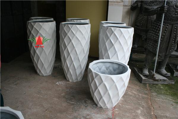 白色玻璃钢组合圆形花盆