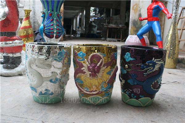 树脂工艺玻璃钢花盆马赛克工艺花盆龙缸