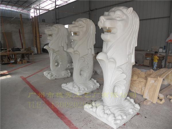 砂岩工艺喷泉雕塑鱼尾狮身像
