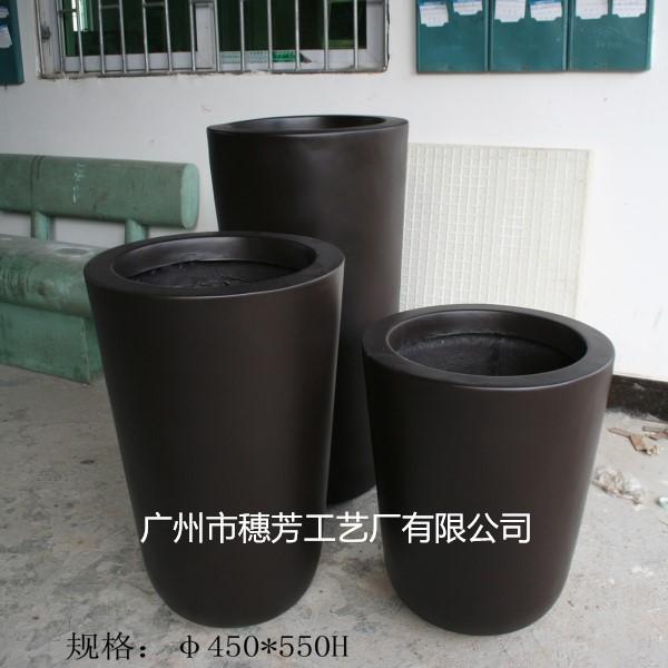 黑色圆形子弹头花瓶商场美陈插花盆