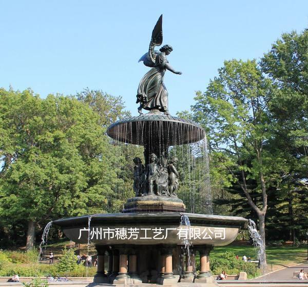 大型仿铜人物喷泉工艺品