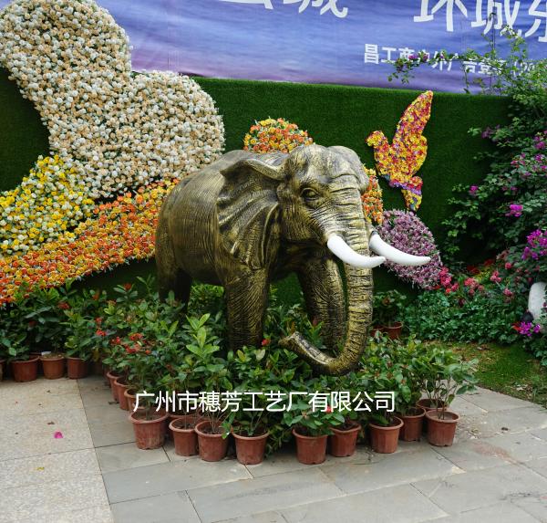 大象雕塑玻璃钢动物模型工艺品