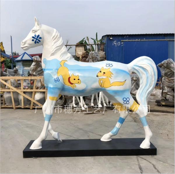 大型玻璃钢彩绘马雕塑