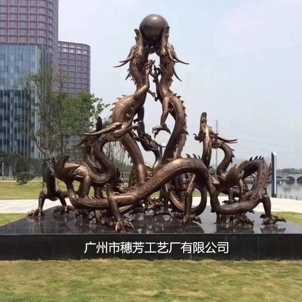 双龙戏水龙形雕塑工艺喷泉