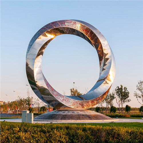 城市广场大型不锈钢圆环雕塑园林景观厂家定制