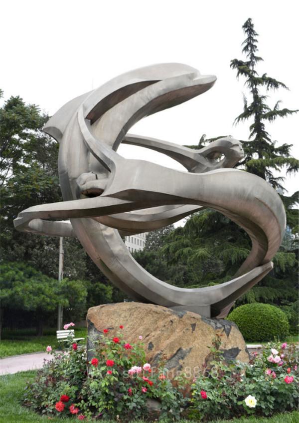 大型不锈钢海豚动物雕塑抽象鲸鱼酒店广场园林景观装饰摆件