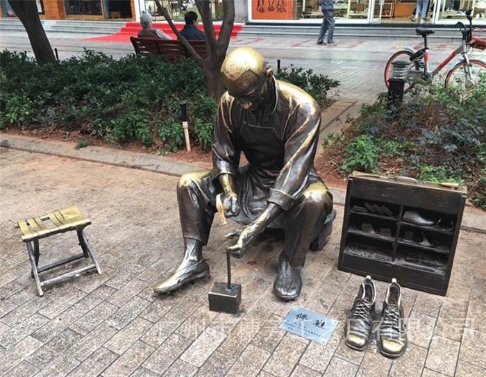 商业街玻璃钢仿铜人物雕塑铸铜人物艺术雕像落地户外广场景观摆件