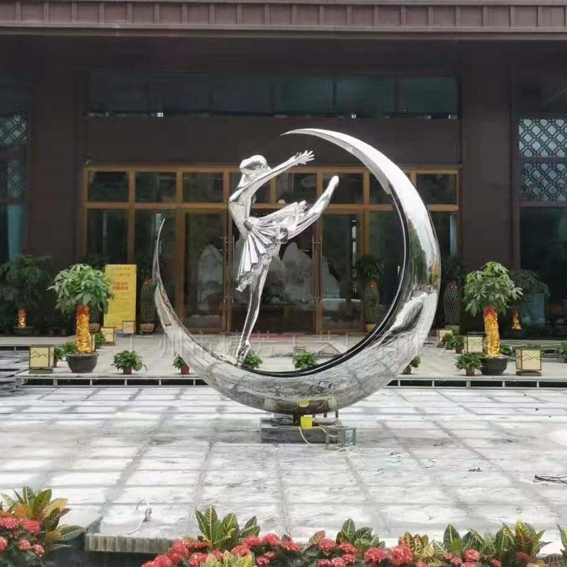 户外不锈钢抽象创意跳舞女孩人物雕塑公园林地产景观金属落地摆件