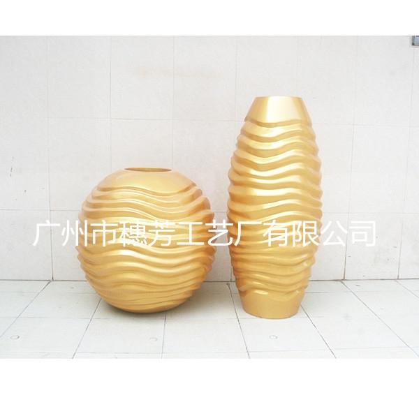 商场时尚花盆  玻璃钢金色花盆