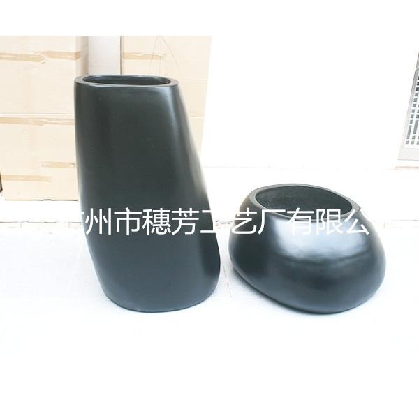中国风花盆  玻璃钢黑色花盆