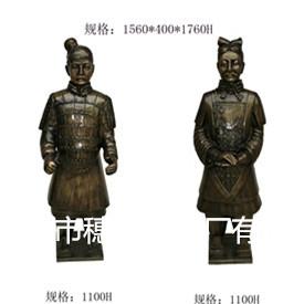 中式仿铜雕塑   兵马俑玻璃钢雕塑