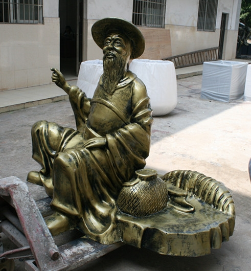 人物雕塑   玻璃钢姜太公钓鱼雕塑