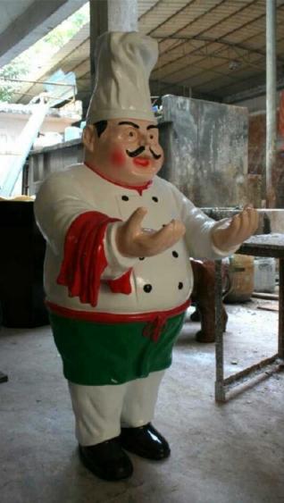 卡通雕塑   厨师玻璃钢雕塑