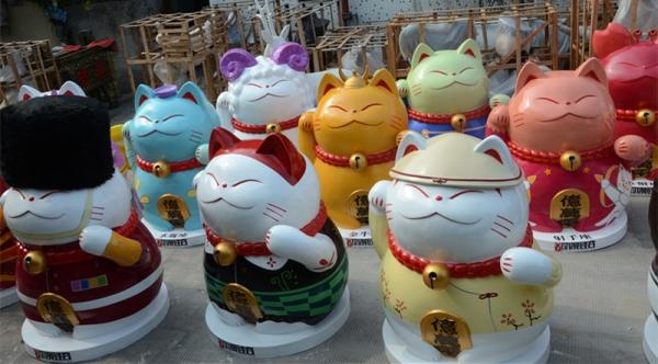 卡通雕塑   招财猫玻璃钢雕塑